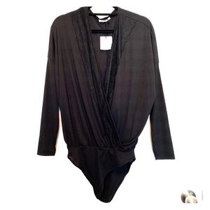 Zara Black Wrap Long Sleeve Bodysuit